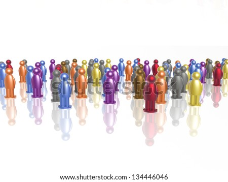 A lot of color mans on white background. - stock photo