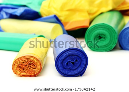 A lot of colorful garbage bags - stock photo