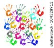 a lot of colorful hand prints on white background - stock photo