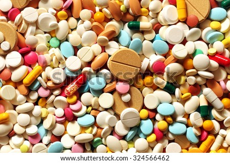 A lot of colorful medication and pills from above - stock photo