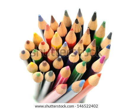 a lot of colorful pencils on white  - stock photo