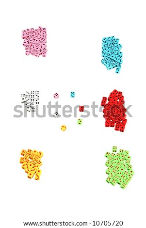 a lot of colorful playing dices (may symbolized teams or groups with leaders) - stock photo