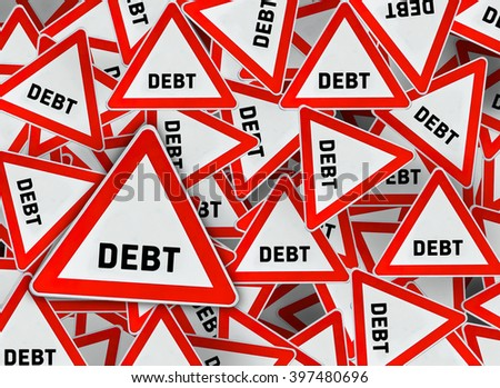 A lot of debt on red triangle road sign - stock photo