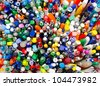 a lot of different ballpoint pens, a top view - stock photo