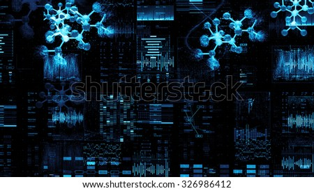 a lot of digits, graphs and details produce complex abstract scientific graphic background with molecule 3d model - stock photo