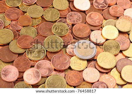 A lot of EURO coins - stock photo