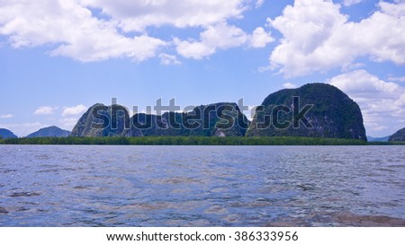 A lot of Exotic Moutain, Phang Nga Bay National Park, Thailand - stock photo