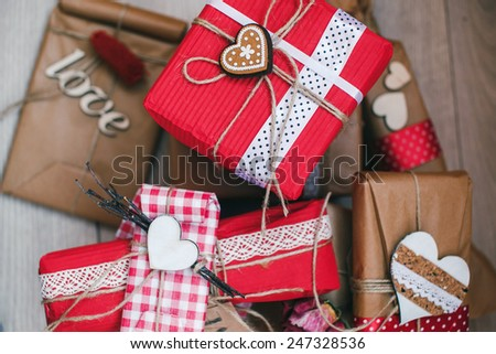A lot of gifts on Valentine's Day - stock photo