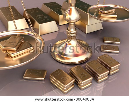 A lot of gold bars - stock photo