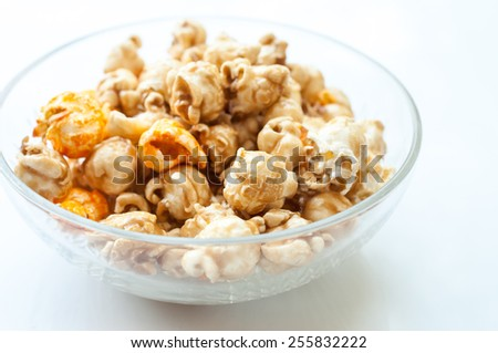 a lot of golden caramel corn close up