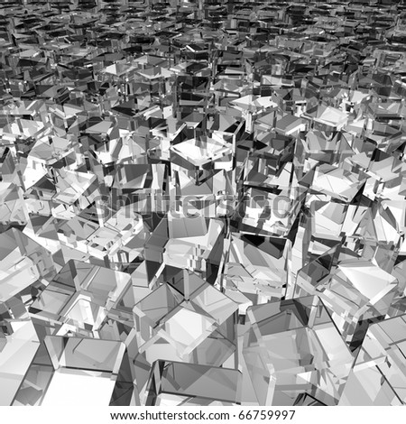 a lot of gray messy glass cubes - stock photo