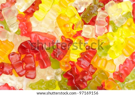 A lot of gummy bears as background - stock photo