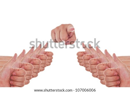 a lot of hands with thumbs up and a finger point to you - stock photo