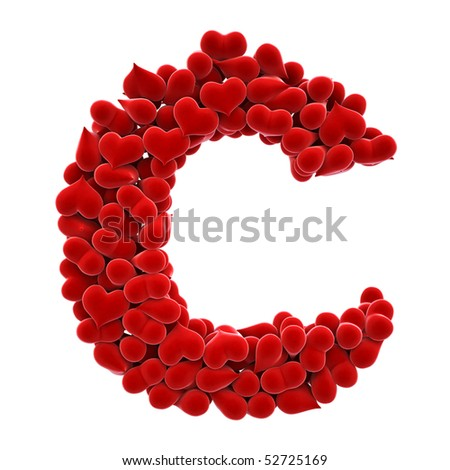 a lot of hearts of velvet in the form of letters. with clipping path.
