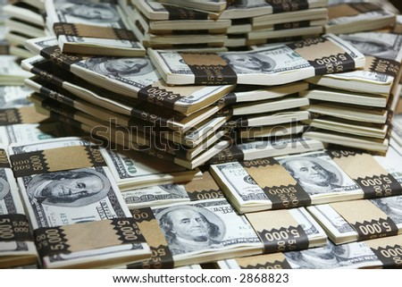 a lot of money - a million US dollars in cash (real money) - stock photo