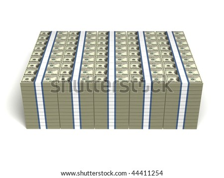 a lot of money isolated on white background - stock photo