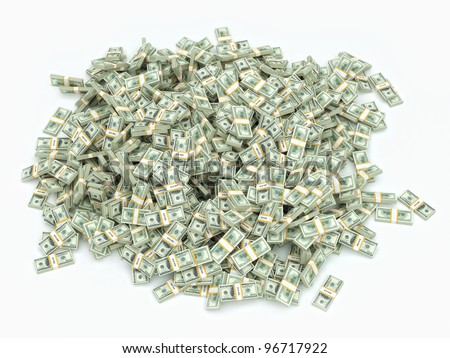 a lot of money on white surface - stock photo
