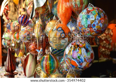 A lot of multi-colored glass spheres to decorate interiors for Christmas. - stock photo