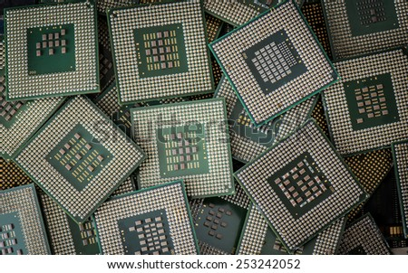 A lot of obsolete cpu units as electronic waste - stock photo