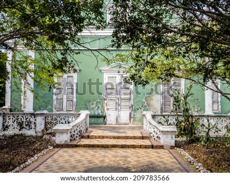 A lot of old buildings around Punda Willemstad on the tropical Caribbean Island of Curacao - stock photo