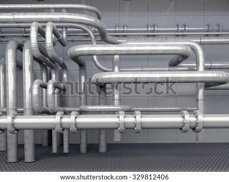 A lot of pipes on a dark background. - stock photo