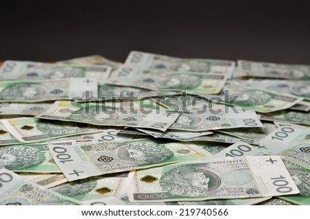 A lot of Polish banknotes. Polish zloty (PLN) - stock photo