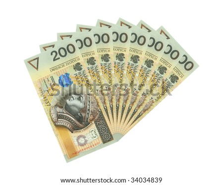 A lot of polish money isolated on white WITH CLIPPING PATCH - stock photo