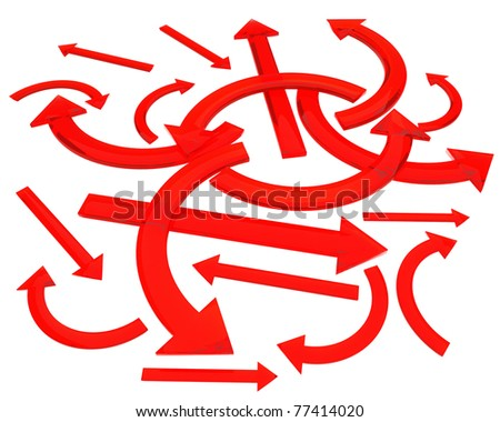 a lot of red arrow isolated over white - stock photo