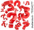 A lot of red question marks isolated - stock photo