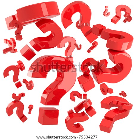 A lot of red question marks isolated