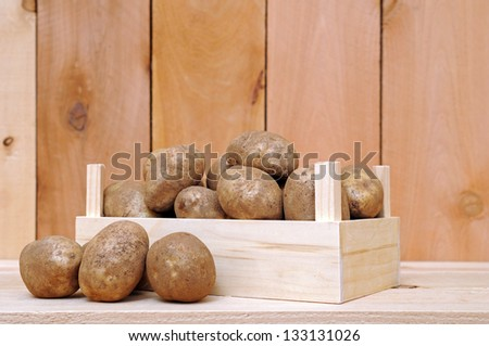 a lot of russet potatoes on crate