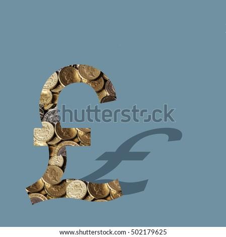 Shiny British Pound Coins Filling Symbol Stock Photo Royalty Free