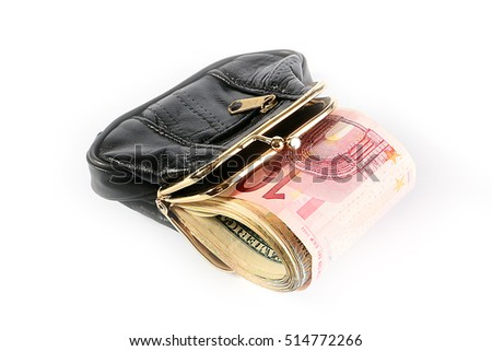 a lot of small paper euro bills in a leather wallet