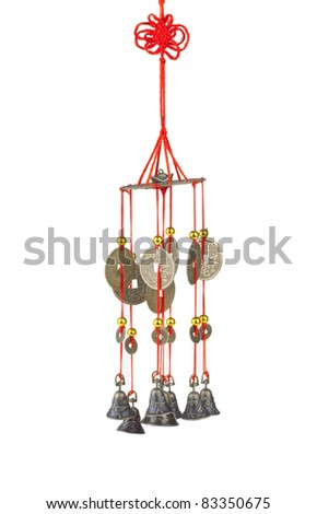A lot of stone fishes wind chime, the chinese feng shui - stock photo