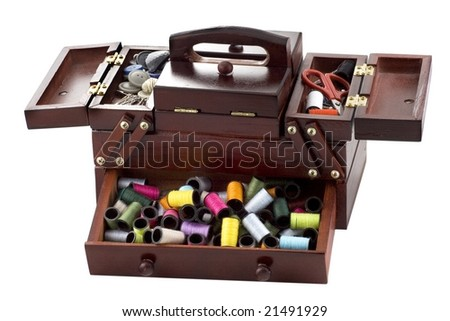 A lot of the tailor's accessories to sewing