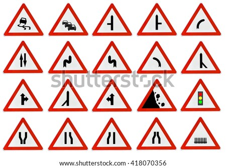 A lot of triangle road sign