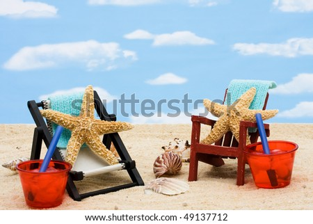 A lounge chair with starfish on a sky background, Having fun on vacation - stock photo