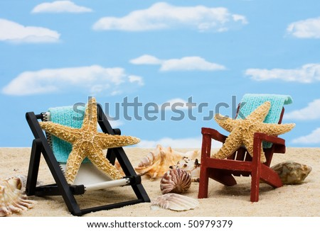 A lounge chair with starfish on a sky background, Relaxing on Vacation - stock photo
