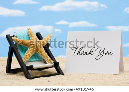 A lounge chair with starfish on a sky background, Thankful for Vacation Time - stock photo