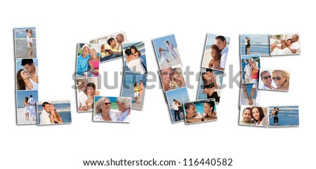 A love concept montage of attractive, happy smiling people couples together romantic on the beach, relaxing at home, embracing, holding hands in love - stock photo