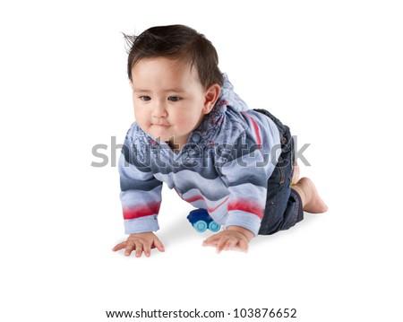 A lovely baby boy crawling on white background - stock photo