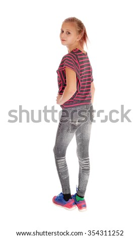 A lovely blond girl in gray jeans and blond hair standing from the back,isolated for white background. - stock photo