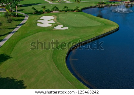 a lovely golf course in florida - stock photo