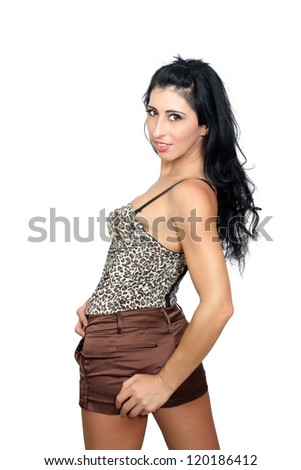 A lovely young European fashion model.  Isolated on a white background with generous copyspace.