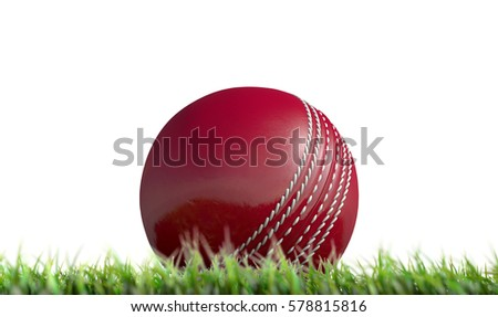 A low upward view of a regular leather cricket ball resting on green grass on an isolated white background - 3D render