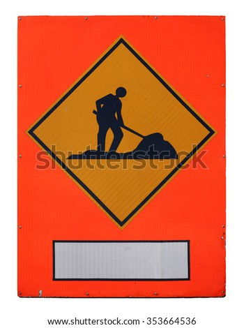 A luminous man at work signage with blank space for text, isolated against white.