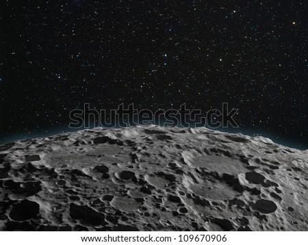 A lunar surface background illustration - stock photo