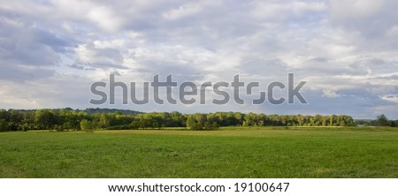 A lush green farm pasture set against a stormy summer evening sky.