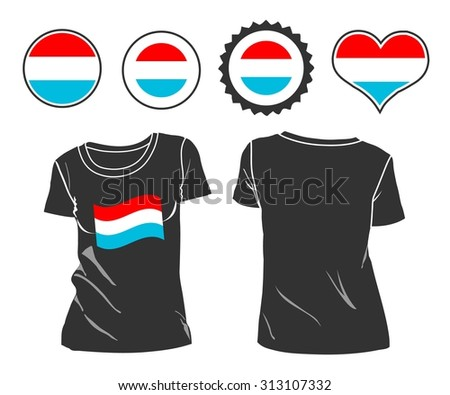 A Luxembourg businessman rips open his shirt and shows how patriotic he is by revealing his countries flag beneath printed on a t-shirt. Raster version - stock photo