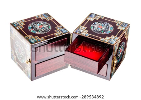 a luxurious chinese jewelry box or casket isolated over a white background - stock photo